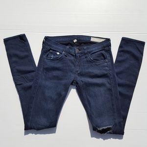 rag & bone | skinny jeans size 24 distressed dark